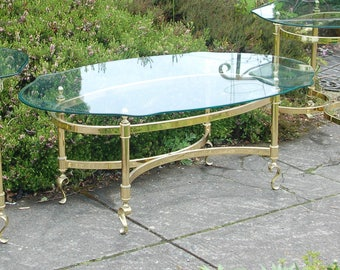Brass Coffee Table W S Curved Feet A Scalloped Beveled Edge Glass