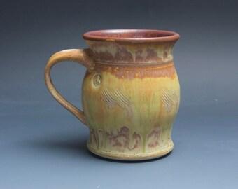 Handmade pottery coffee mug tea cup 14 oz yellow amber tea cup 3876