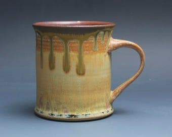 Handmade pottery coffee mug tea cup 16 oz yellow amber tea cup 3881