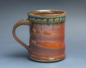 Handmade pottery coffee mug, ceramic mug, stoneware tea cup 14 oz mug deep glossy tangerine red flake  3934