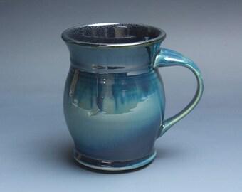 Pottery coffee mug, ceramic mug, stoneware tea cup navy blue 14 oz 3956