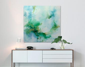 Large Abstract seascape giclee print on canvas from painting vertical blue turquoise white 'underwater treasures' Elena