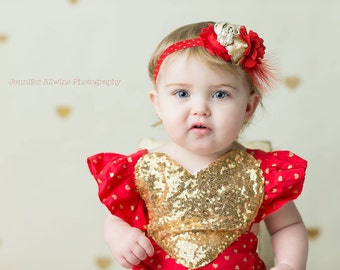 Heart of Gold - red gold and white valentine's day rosette and chiffon flower headband bow