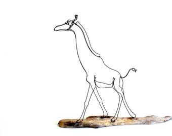 Giraffe Wire Sculpture, Wire Art, Minimal Wire Design, Giraffe Art, 498352128
