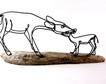 Doe and Fawn Wire Sculpture, Deer Sculpture, Wildlife Art, Minimal Sculpture, Wire Folk Art, 517760641