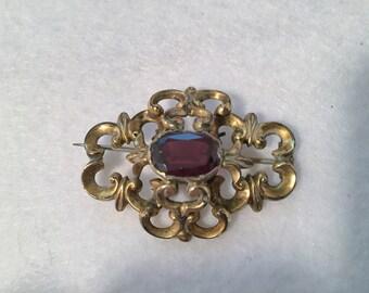 Victorian Garnet Brooch Rococo Revival - Original