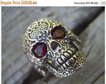 ON SALE Sale....Sugar skull ring in sterling silver with red cz's for eyes