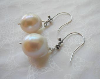 Freshwater Pearl Earrings Large White Oxidized Sterling Silver AAA Wedding Mother of the Bride