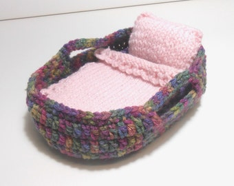 Moses Basket, Small Basket for 5 Inch Doll, Doll Carrier, Small Doll Carrier, Doll Blanket Pillow and Mattress