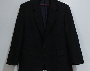Mens Duke Signature Collection Black Dress Dinner Suit Jacket Size 40S 100% Polyester Single Breasted Tailored Lined Professional Menswear