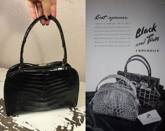 Can I Fit My Ration Book - Vintage 1930s 1940s Jet Black Alligator Leather Kelly Handbag