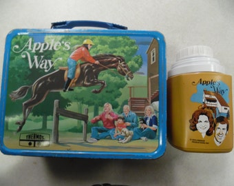 Apples Way lunch box, Apples Way thermos, vintage lunch box, metal lunchbox, tv character