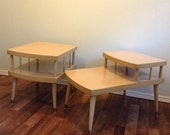 1960's End Table Two Tier • Mid Century Blond Side Table • Vintage Furniture Blonde Wood and Formica