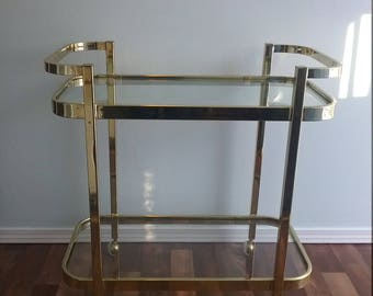 RESERVED - Milo Baughman Brass & Glass Bar Cart for Design Institute of America Tea Cart,  Late Mid Century Two Tier Serving Caddy