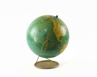 Vintage World Globe, Desktop Globe, Industrial Office Decor, Spinning Globe, 1930s Crams Imperial Globe with Advertising