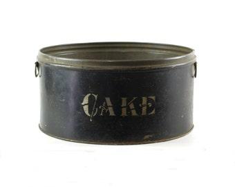 Antique Cake Storage Tin, Farmhouse Kitchen Decor, Round Tin Container