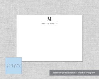 personalized note cards - bold monogram - personalized stationery - monogram stationery - monogrammed - stationary - wee notes - SET OF 10