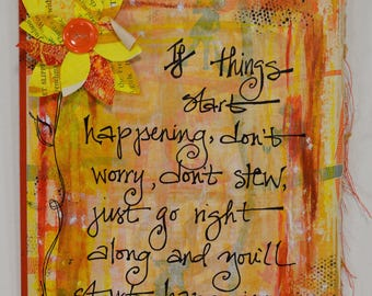 Red Orange Yellow Inspirational Quote on Upcycled Book Cover for Home Decor by Lulu Bea