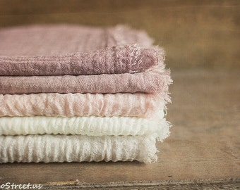 Five Newborn Wraps, Girl Props, Baby Cotton Wrap, Ivory, Pink, Blush Cheesecloth, Baby Photo Prop, newborn Props, RTS, Vintage Wrap