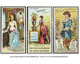 Antique Corset Trade Cards, Printed Set of 3, Vintage Advertising, Clothing, Corsets, Old Victorian Advertising Ephemera, Paper Art, TCS17
