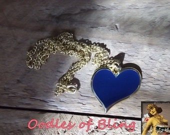 Vintage Heart Necklace Pendant Long Chain Blue Jewelry