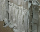 Tailored Bumpers With Sash Ties-Vintage White with Dove Washed Linen-To Match Crib Skirt