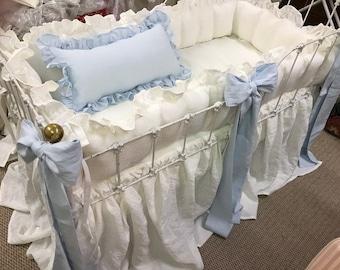 Ruffled Crib Bumper and Gathered Crib Skirt----Sash Separates-Large Crib Pillow---Made to Order Crib Linens