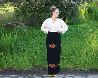 Vintage Balck Wool Maxi Skirt with Embroidered Fruit Appliqué Motif