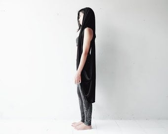 Black Hooded Vest - Draped Top - Hooded Draped Top - Hooded Vest - Bamboo Vest