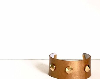 Bronze Leather Cuff Bracelet w/ Matte Gold Detail and Matte Gold Faceted Screw Back Studs. FAST Shipping from USA with Tracking 4 US Buyers.