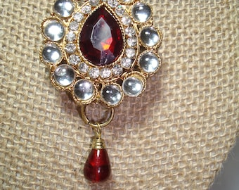 Vintage Fit For Royalty Ruby Red with Rhinestones Large Pin.