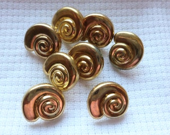 Vintage Gold Swirls Buttons, Plastic Buttons with shanks, 15mm, 1970's, Craft Buttons, Snail, Swirls, Button Jewelry, 8 in lot