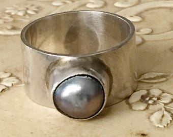 Sterling Silver & Silver Black Pearl Ring Size 6 1/2