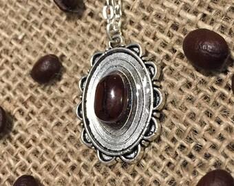 Calypso Real Coffee Necklace - Single Bean - Silver Woodgrain Oval - Barista Gift