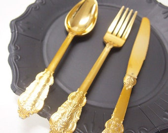Gold Baroque Party Cutlery Set of 6 knives 6 spoons 6 forks