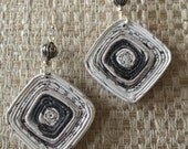 n. 51 BLACK & WHITE  square coiled recycled paper pierced earrings with silver beads measure 1.35""