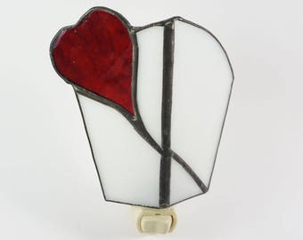 Won't you be my Valentine  Hand Crafted Stained Glass Electric Nightlight