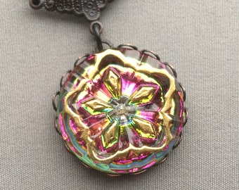 Glass Necklace - Glass Pendant - Starburst Necklace - Czech Glass Jewelry - Stained Glass Jewelry - Button Jewelry - Romantic Jewelry