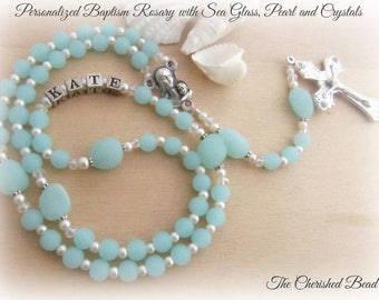 Baptism Personalized Rosary with Sea Glass, Swarovski Pearls and Crystals - Baby Name Rosary - Sea Glass Rosary - Beach Rosary