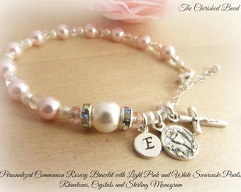 Personalized Communion Rosary Bracelet with Swarovski Light Pink Pearls, White Pearls, Rhinestones and Pink Crystals with Sterling Monogram