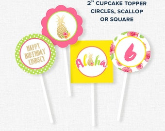 Pineapple Cupcake Toppers, Luau Party Decorations, Pineapple Party Circles, Printable Birthday Cupcake Toppers