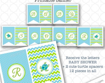 Sea Turtle Banner, boy baby shower decor, Baby Shower, under the sea ocean theme, pennant flag banner party decor, printable banner