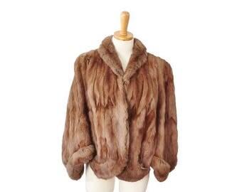 60% off sale // Vintage 50s Evans Chicago Fur Coat Cape - Women S M - Glam, Brown, Fur Label Authority