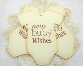 Gender Neutral Cream Onesie Baby Wish Tags,  Baby Shower Wish Tags,  Baby Favor Tags, Neutral  Baby Shower Decorations