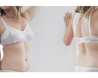 Lumi Stretch Lace Bra with Modern Racerback Ethereal Feminine Lingerie Handmade to Order