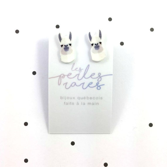 Small, white, lama, white earrings, hypoallergenic, plastic, stainless stud, handmade, les perles rares