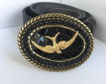 Bird Accesories, Leather Belt, Black and Gold Belt, Bird in Flight, Womens Buckles, with swallow, flying bird motif, mosaic buckles