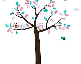Baby nursery wall decal baby girl wall decals Wall sticker vinyl owl tree wall decals