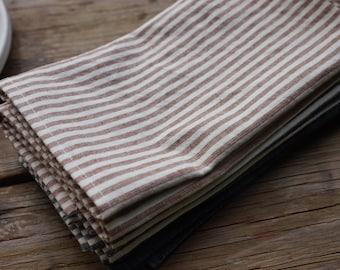 organic cloth napkins, brown stripes, set of 2, cloth dinner napkins, organic cotton, eco-friendly, reusable, sustainable, brown napkins,