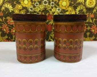 Vintage Retro 1975 Hornsea Pottery Saffron Cruet Set Salt Pepper Pots 1970s